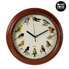 Horloge Sonore Murale Originale en Bois avec Chants d'Oiseaux 33cm