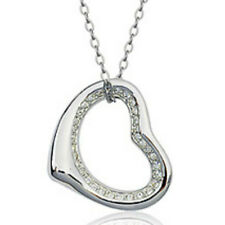 """Clear white gold finish heart shaped pendant necklace 18"""" quality jewellery UK"""