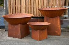 OUTDOOR RUSTED FIRE PIT OPEN FIREPLACE PERGOLA PATIO - SMALL SIZE
