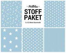 Stoffpaket hellblau 5x (0,5x1,50m) Patchworkpaket Baumwolle Nähpaket DIY Stoffe