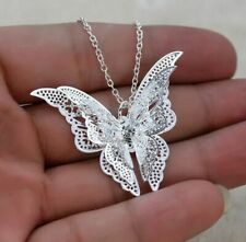Women Silver Plated Hollow 3D Butterfly Pendant Necklace Fashion Jewelry Gift
