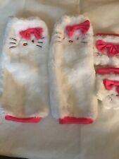 Hello Kitty Glovelettes & Leg Warmers - White Faux Fur Costume Dress Up NEW