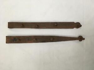 """Lot of 2 Large Heavy 22"""" Antique Iron Hinges Blacksmith Made Barn Door? Gate?"""