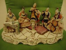 EXCLUSIVE ANTIQUE PORCELAIN DRESDEN FIGURINE GROUP-MUSIC SCENE-BAROQUE-GERMANY-