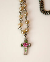 Vintage Religious metal enamel silver tone cross chain with faux pearls