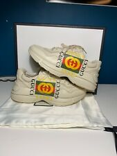 USED Gucci Rhyton Classic Logo Shoes Sneakers Size 8.5 US G7 100% Authentic