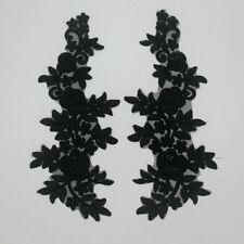 Mirror Pair Embroidered Corded Black Lace Applique Trim Motifs Sew On LH76