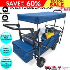 Deluxe Folding Wagon Beach Picnic Trolley With Canopy Outdoor Garden Cart Sports