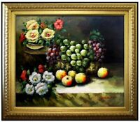 Framed Hand Painted Oil Painting, Still Life with Flowers and Grapes, 20x24in