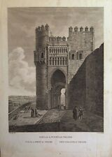 TOLEDO, Puerta del Sol. Laborde, grabado original 1806 a 1820