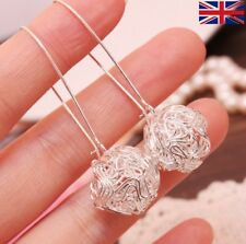 Women's Hollow Ball Silver Plated Hook Drop Earrings  - UK Seller Free P&P