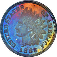 1883 1 Cent PCGS MS64BN Gem Indian Head Cent Teal Red/Sun Gold Toning