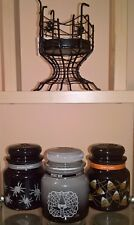 Yankee Candle Halloween Jars Candy Corn, Witches Brew, Spider Web Holder Tapers