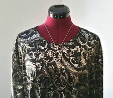 Gorgeous Plus Size 2X Liquid Look Black/Metallic Gold Short Sleeved Top-No Tags