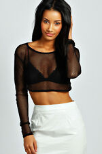 Black Sheer Fabric Long Sleeves Stretchy Crop/Cropped Top One Size 10 - 14