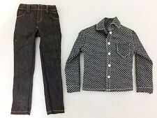 "Classic White Black Male Casual Long Sleeve Shirt 1/6 Scale W/Jeans F 12"" Dolls"