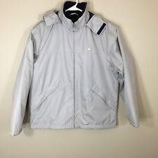 Lacoste Women's Gray Puffer Light weight Basic Jacket Zip Snap Button Size 38