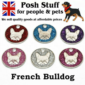 Personalised Engraved Glitter French Bulldog Tag Pet ID Tags Choice of Colours