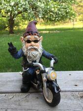 New listing Male Biker Gnome Peace Sign Sitting on Bike Figurine Statue Resin Yard Decor