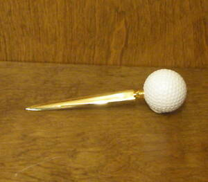 LETTER OPENER #GIG477G Golf Ball Theme  golden, NEW from our Retail Store