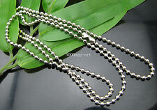 5pcs Metal Silver Plated Round Ball Bead Chain Necklace  600mm