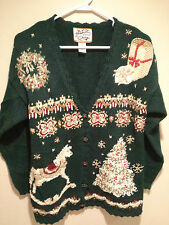 Vintage Tacky Ugly Christmas Sweater - Large Green Heirloom Collectibles !!