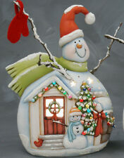 Ceramic Bisque Ready to Paint Medium Snowman with Door Scene electric included