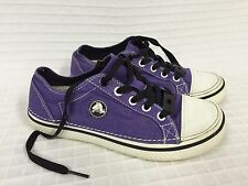 Kid's CROCS Hover METALLIC PURPLE Lace UP Sneakers Size 4 (J4) Canvas Youth Shoe
