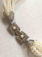 "Vintage Multi Strand Faux Pearl Necklace Beautiful Rhinestone Clasp 18"""