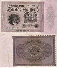100000 REICHS MARK 1923 - BANCONOTA GERMANIA BERLIN 1 FEBBRAIO 1923