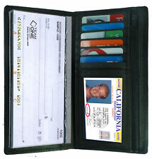 Black Leather Checkbook Cover Organizer Wallet Zip Card ID Holder Men Lady