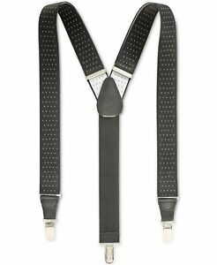 NEW Club Room Men's Black White Pin-Dot Clip-On Adjustable Suspenders