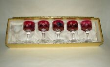5 Cristallerie Artistiche Flash Cranberry Cut To Clear Glasses in Box Italy