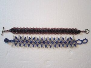 2 BRACELET SEED BEAD JEWELRY BEAUTIFUL HAND CRAFTED PURPLE BLUE CLEAR RESIN BEAD