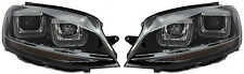 LHD VW Golf Vii Mk7 2012+ Black Double U DRL LED Projector Headlights R-Line