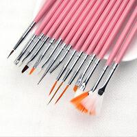 15Pc/Set Salon Nail Art Manicure Pens UV Gel Design Painting Art Brush Tool Set