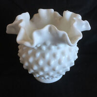 White Hobnail Vase Milk Glass Unmarked Fenton  Ruffled Rim  4 1/4""