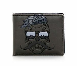Shagwear Hipster Sugarskull Men's Bifold Wallet, Grey