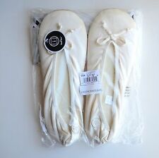 Isotoner Women's Stretch Satin Ballet Style Slippers Cream Size L US 8-9