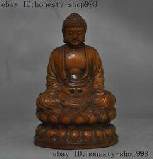 old Tibet buddhism boxwood wood hand-carved sakyamuni Shakyamuni buddha statue