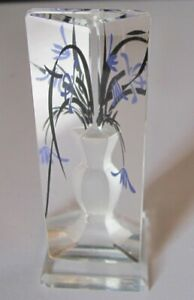 Delightful Carved Crystal Prism Vase With Flowers Doll House Miniature