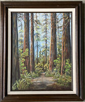 "Marjorie Pierson Original Oil Painting Redwood Forest ""Come Walk with Me"""