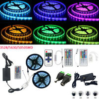 5M 10M 2835 5050 5630 SMD RGB White Led Light Strip Lamp RF Control 12V Power
