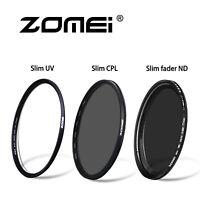 52/58/62/67/72/77/82mm Slim Fader ND2-400+Slim CPL+Slim UV For Digital Camera