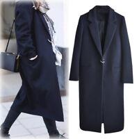 Women Lapel Wool Cashmere Coat Trench Jacket Long Parka Overcoat Outwear Navy