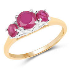 14K Yellow Gold 2.01 Ct Genuine Glass Filled Ruby 925 Sterling Silver Love Ring