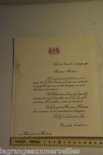 Lettre de remerciement du Roi des belges en 1976 Noces