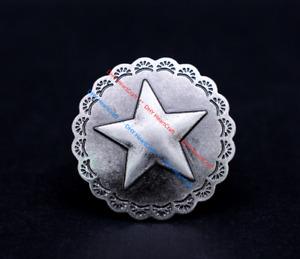 10X Vintage Silver Floral Edge Texas Star LeatherCraft Saddles Conchos ScrewBack