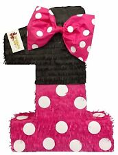 """Large Hot Pink & Black Number One Pinata 23"""" Tall"""
