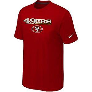 Nike San Francisco 49ers Wordmark Logo Cotton T-Shirt-Red NEW